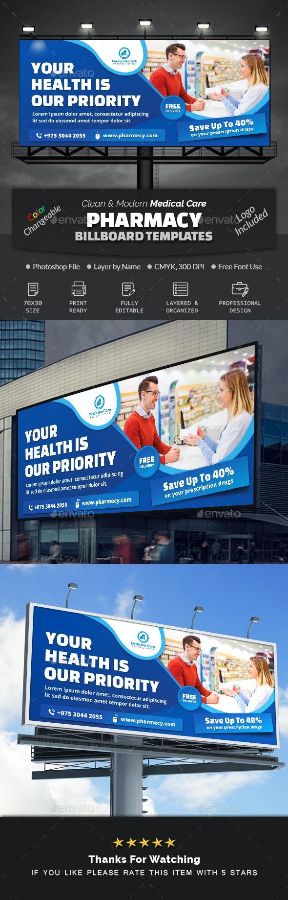 Pharmacy Medical Care Billboard - Signage Print Templates