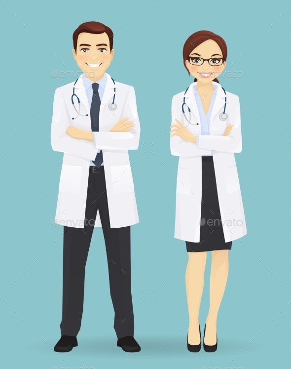 Male and Female Doctors Isolated - Health/Medicine Conceptual