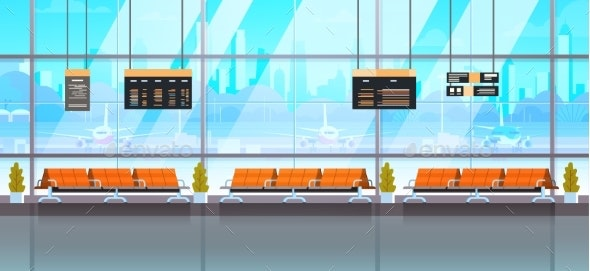 Waiting Hall Or Departure Lounge Modern Airport - Man-made Objects Objects