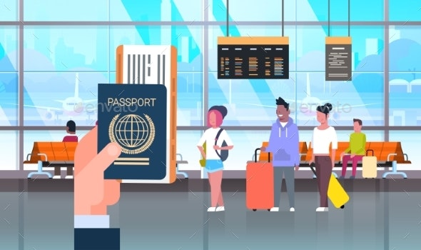 Hand Hold Passport And Ticket Over People In - Man-made Objects Objects