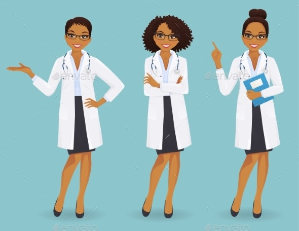 Female Doctors Set - Health/Medicine Conceptual
