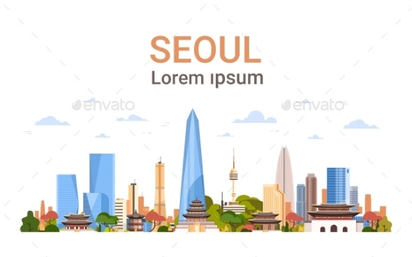 Seoul City Background Skyline South Korea View - Buildings Objects