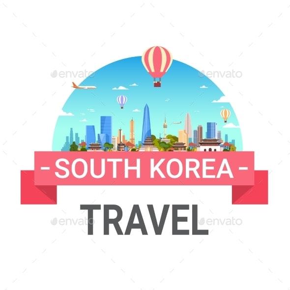 South Korea Travel Poster Seoul Landscape Skyline - Buildings Objects