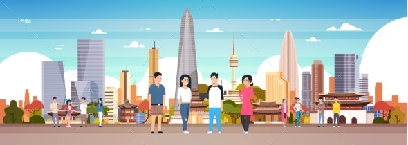 Group Of Korean People Over Seoul City Background - Buildings Objects