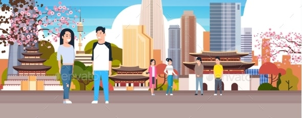 Korean Couple Over Seoul City Background With - Buildings Objects