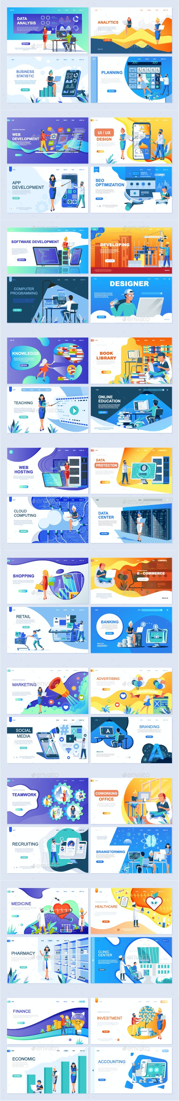 Flat Design Landing Page Templates - Web Elements Vectors