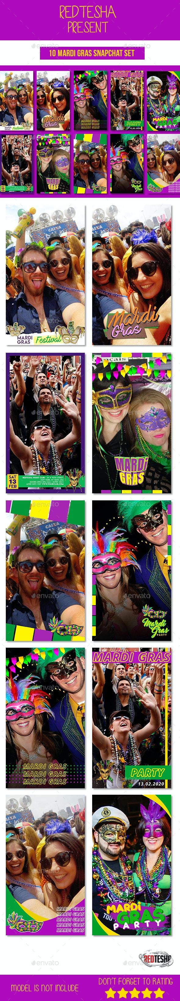 10 Mardi Gras Snapchat Set - Social Media Web Elements