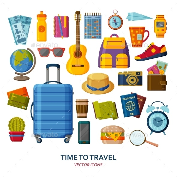 Travel Icons with Suitcase and Sunglasses - Travel Conceptual