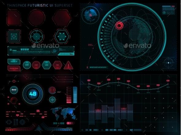 Futuristic Sci Fi Modern User Interface Set - Computers Technology