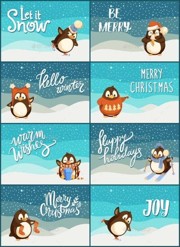 Merry Christmas Snow Snowfall Weather Penguins Set - Seasons/Holidays Conceptual