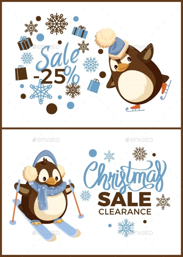 Merry Christmas Special Sale and Winter Holiday - Animals Characters