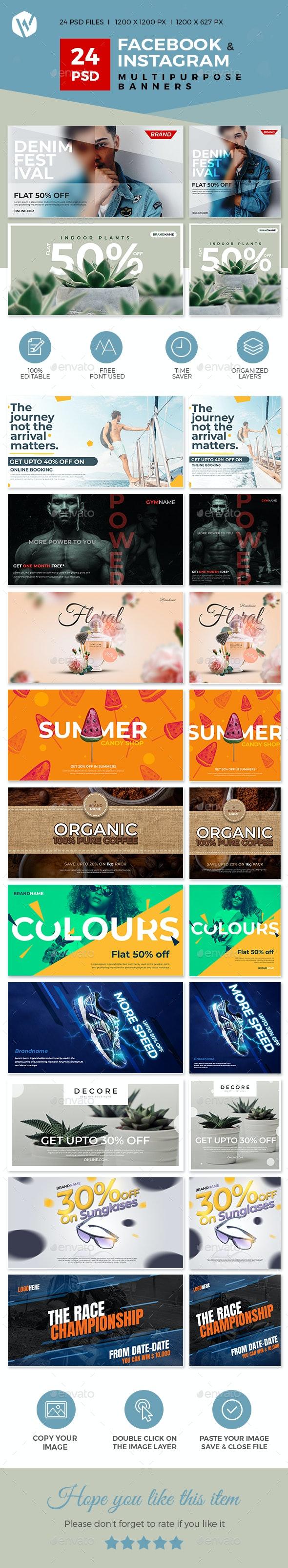 24 Facebook & Instagram Multipurpose Banners - Social Media Web Elements
