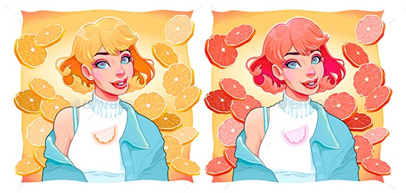 Two Girls with Slices of Lemon and Orange on Backgrounds - Food Objects