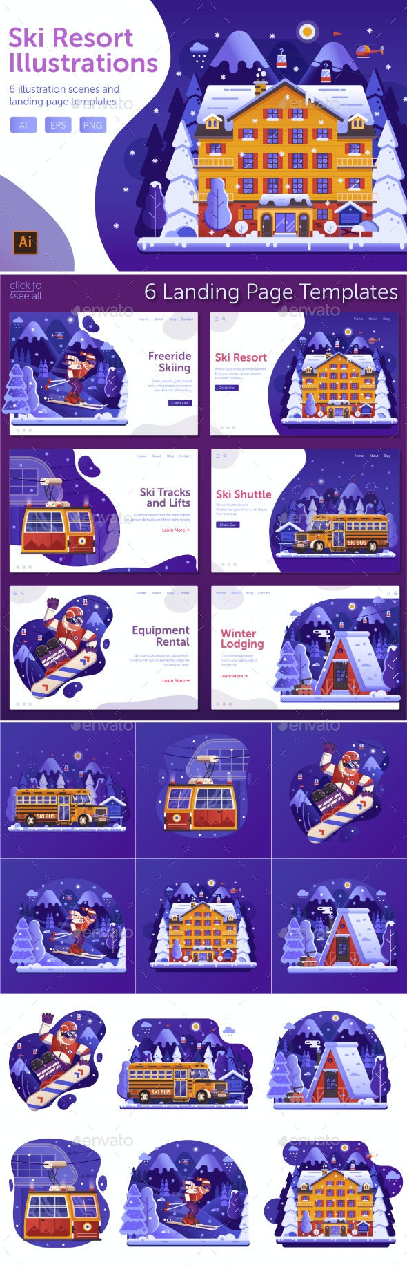 Winter Ski Resort Web Illustrations - Miscellaneous Vectors