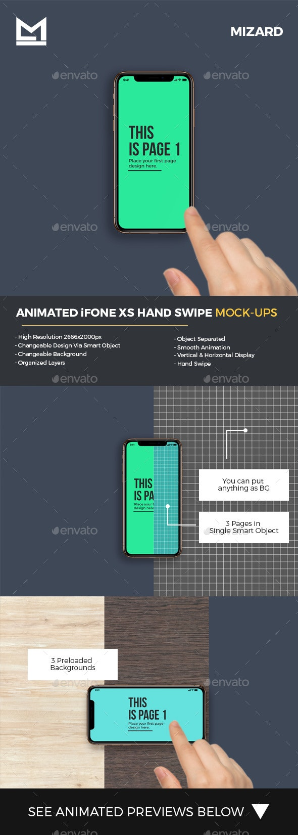 Animated iFone XS Hand Swipe Mockup - Mobile Displays