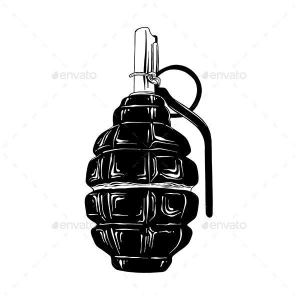 Hand Drawn Sketch of Military Hand Grenade - Man-made Objects Objects