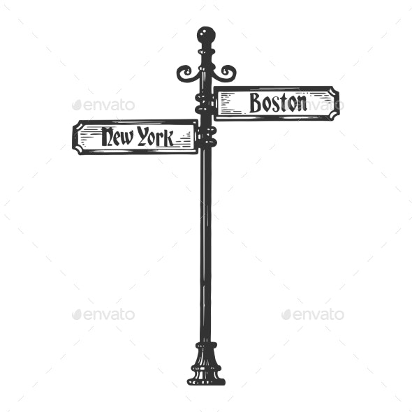 Old Urban Road Signpost Engraving Vector - Man-made Objects Objects