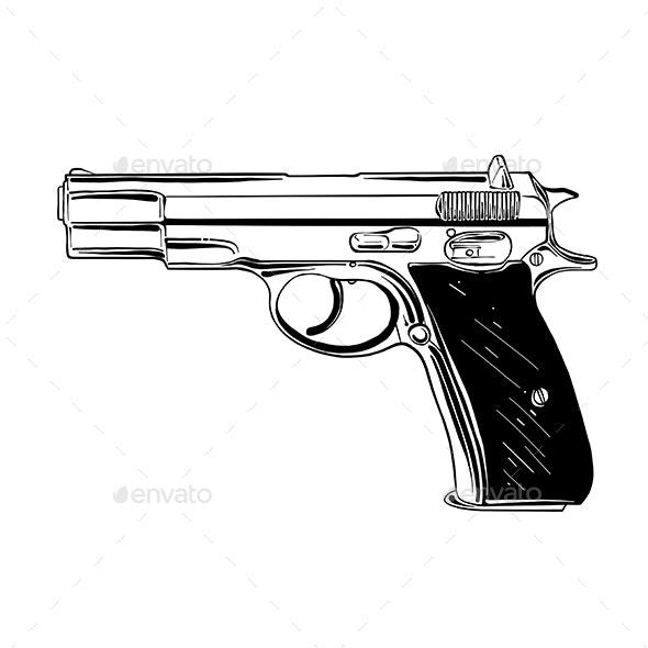 Hand Drawn Sketch of Pistol - Miscellaneous Conceptual