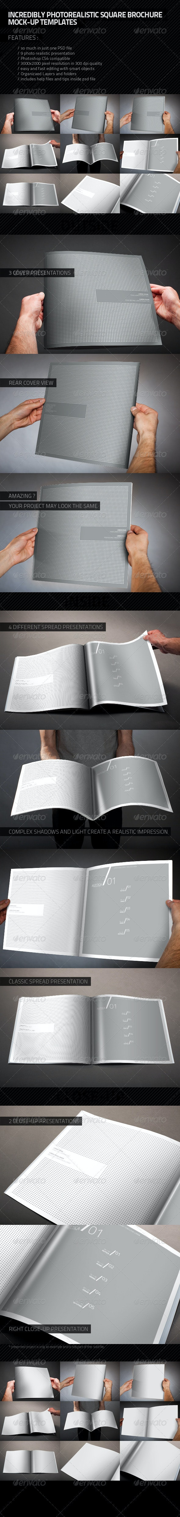 Photorealistic Square Brochure Mock-up - Brochures Print