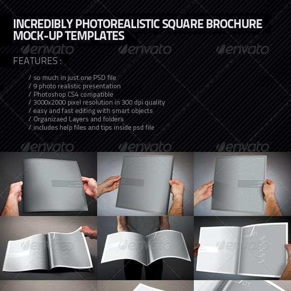 Photorealistic Square Brochure Mock-up
