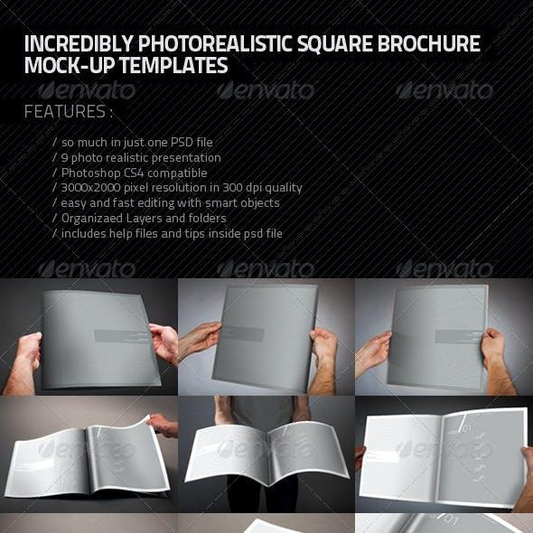 Photorealistic Square Brochure Mock-up