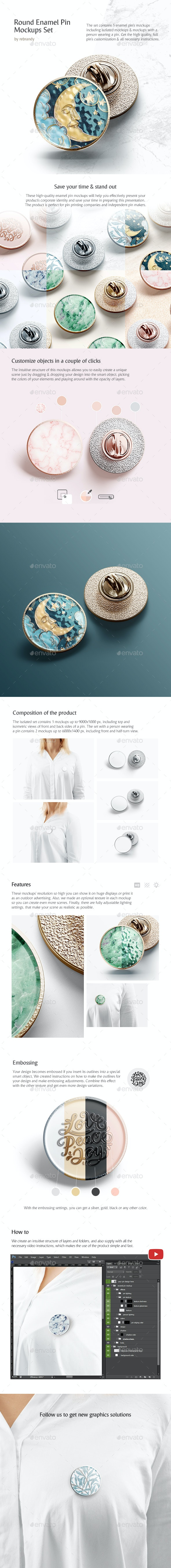 Round Enamel Pin Mockups Set - Product Mock-Ups Graphics