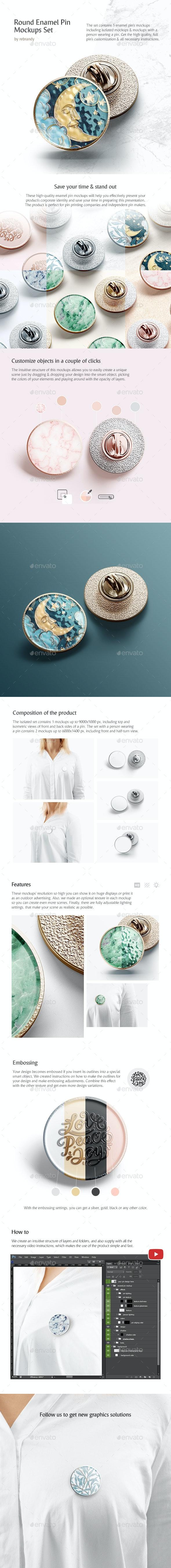 Round Enamel Pin Mockups Set by rebrandy   GraphicRiver