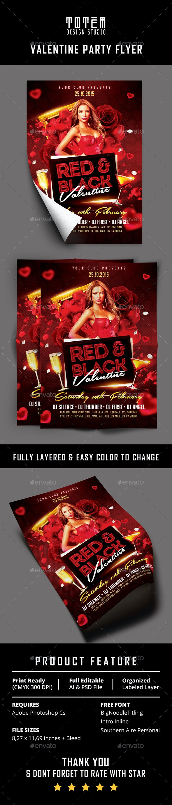 Valentine Party Flyer Vol. 3 - Print Templates