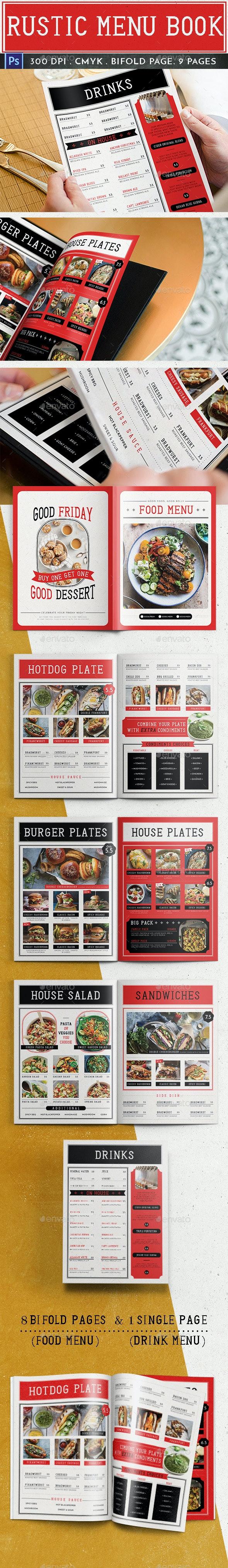 Rustic Menu Book - Food Menus Print Templates