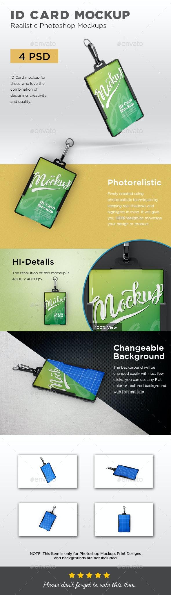 ID Card Mockup - Print Product Mock-Ups