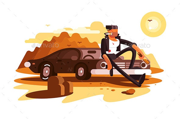 Cool Tough Guy Sitting on Car and Smoking - People Characters