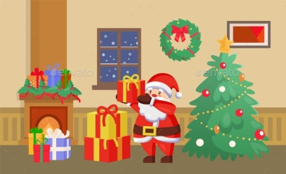 Merry Christmas Santa Claus with Presents Gifts - Seasons/Holidays Conceptual