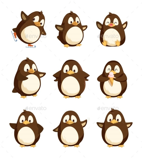 Penguin Animal with Wings Smooth Feathers Bird - Animals Characters