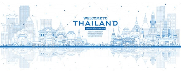 Outline Welcome to Thailand City Skyline with Blue Buildings and Reflections. - Buildings Objects
