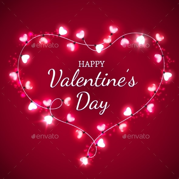 Valentines Day Heart with Red and Pink Light Bulbs - Valentines Seasons/Holidays
