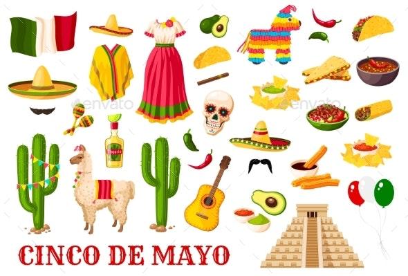 Cinco De Mayo Traditional Mexican Holiday Symbols - Seasons/Holidays Conceptual