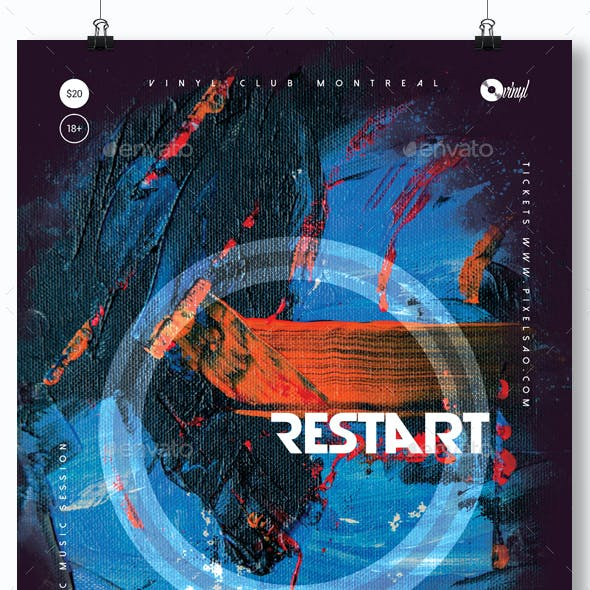 Restart - Abstract Party Flyer / Poster Template A3