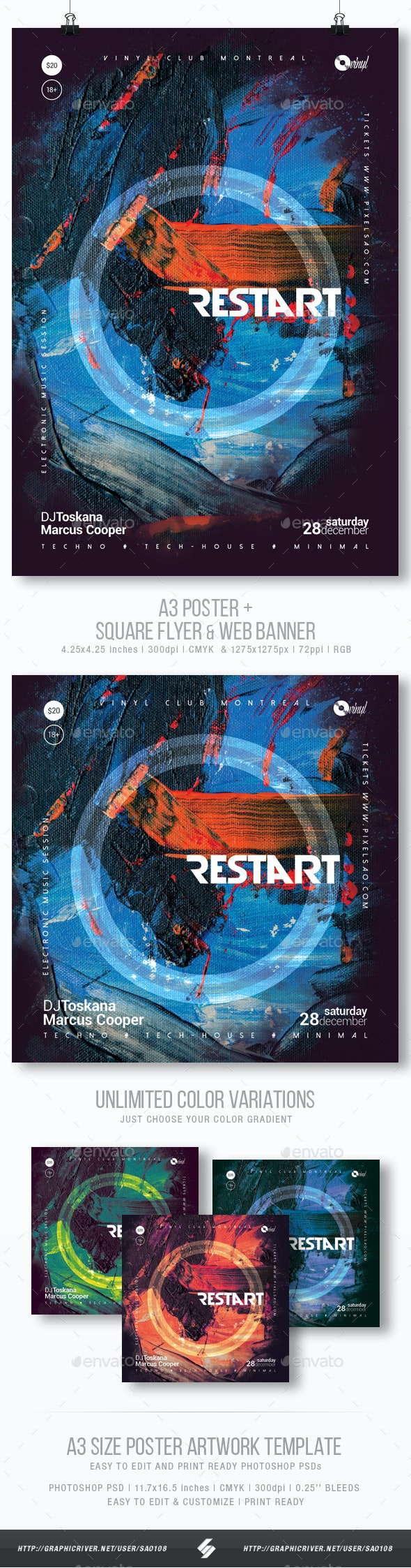 Restart - Abstract Party Flyer / Poster Template A3 - Clubs & Parties Events