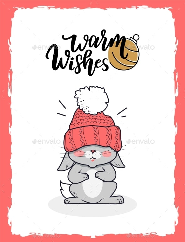 Merry Christmas Postcard Warm Wishes with Bunny - Christmas Seasons/Holidays