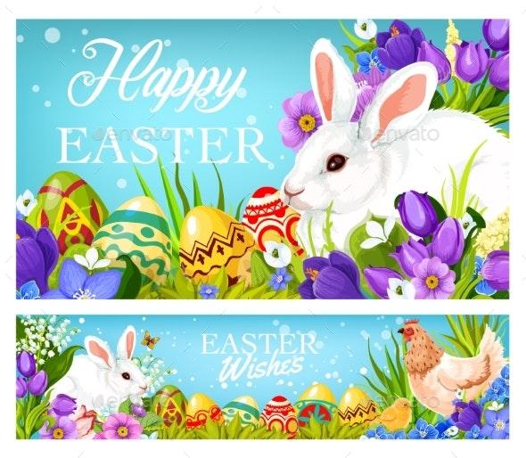 Easter Christian Holiday Greetings, Eggs and Bunny - Seasons/Holidays Conceptual