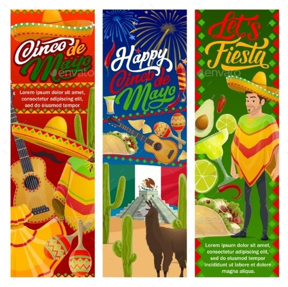 Cinco De Mayo Mexican Mariachi Guitar and Sombrero - Seasons/Holidays Conceptual