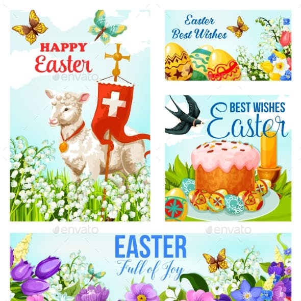 Happy Easter Cross and Eggs Vector Cards