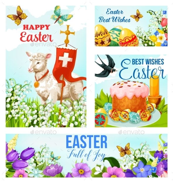 Happy Easter Cross and Eggs Vector Cards - Seasons/Holidays Conceptual
