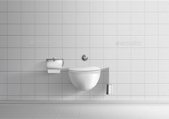 Toilet Room with Wall-Hanging Toilet Bowl Vector - Backgrounds Decorative