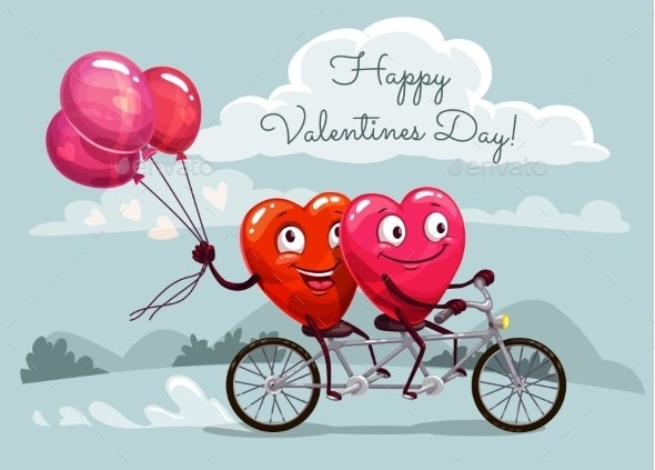 Valentines Day Hearts Riding Bicycle with Balloons - Valentines Seasons/Holidays