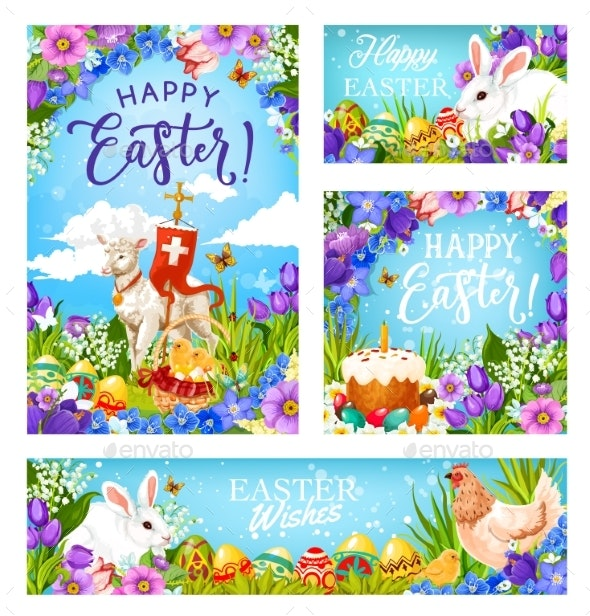 Easter Christian Religion Eggs and Greetings - Miscellaneous Seasons/Holidays