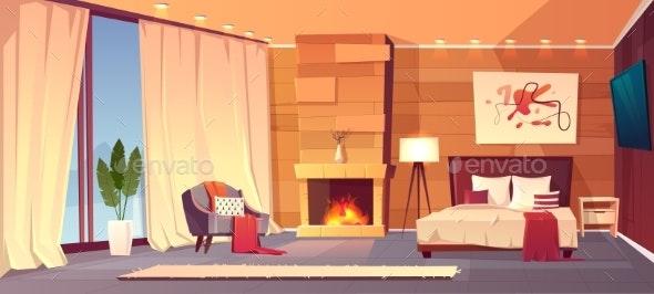 Vector Interior of Hotel Bedroom Winter Resort - Backgrounds Decorative
