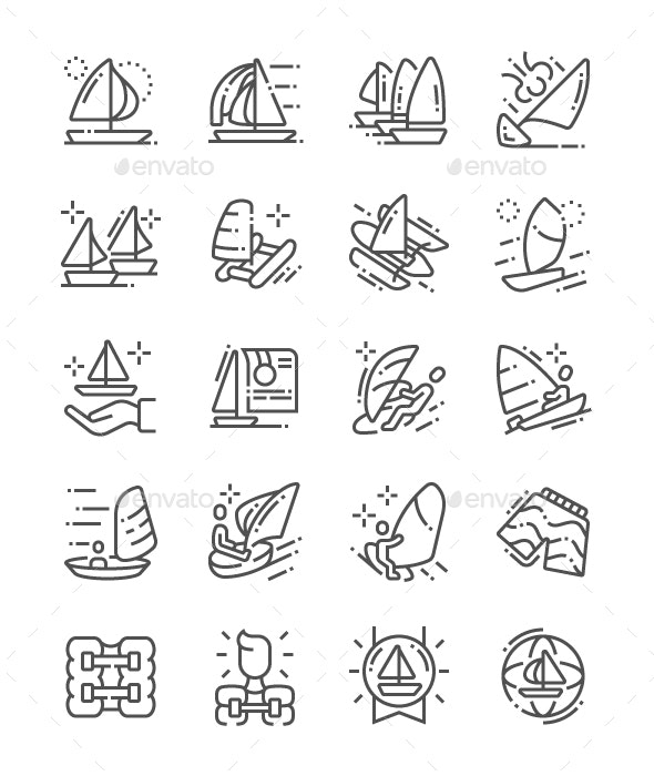 Sailing Line Icons - People Characters
