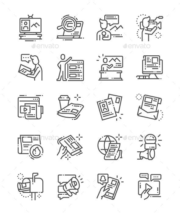 News Line Icons - Media Icons