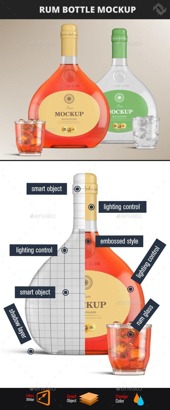 Brandy Rum Bottle Mockup - Product Mock-Ups Graphics